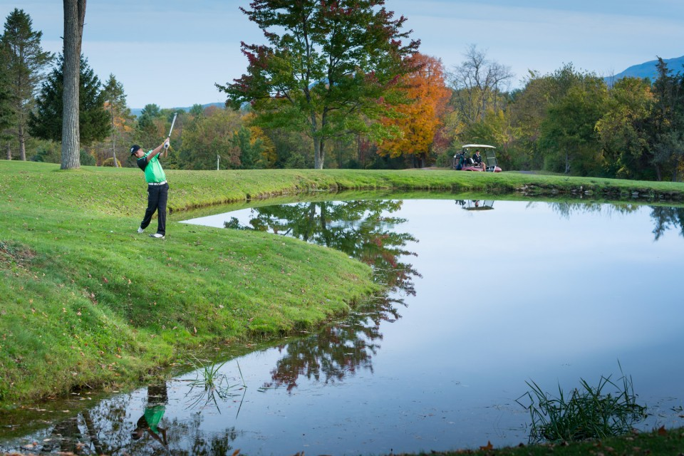 Golfer on a golf course in the Catskills
