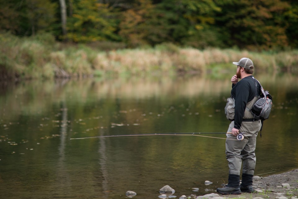 Man fly fishing in the Catskills