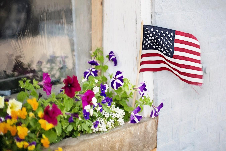 Flag in Flower Box