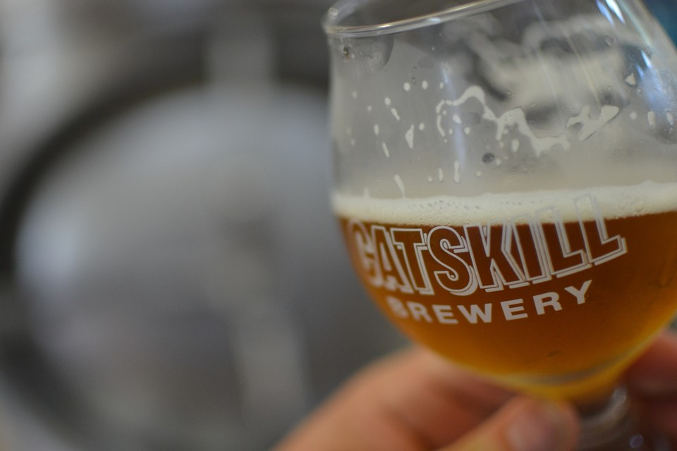 Catskill brewery glass with beer