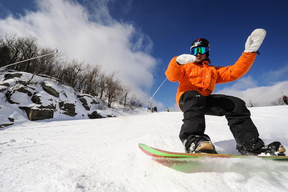 snowboarding in the Catskills