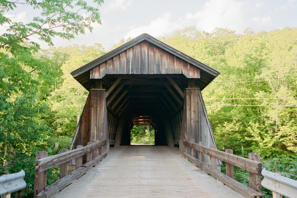 covered bridge in Livingston Manor in the Catskills