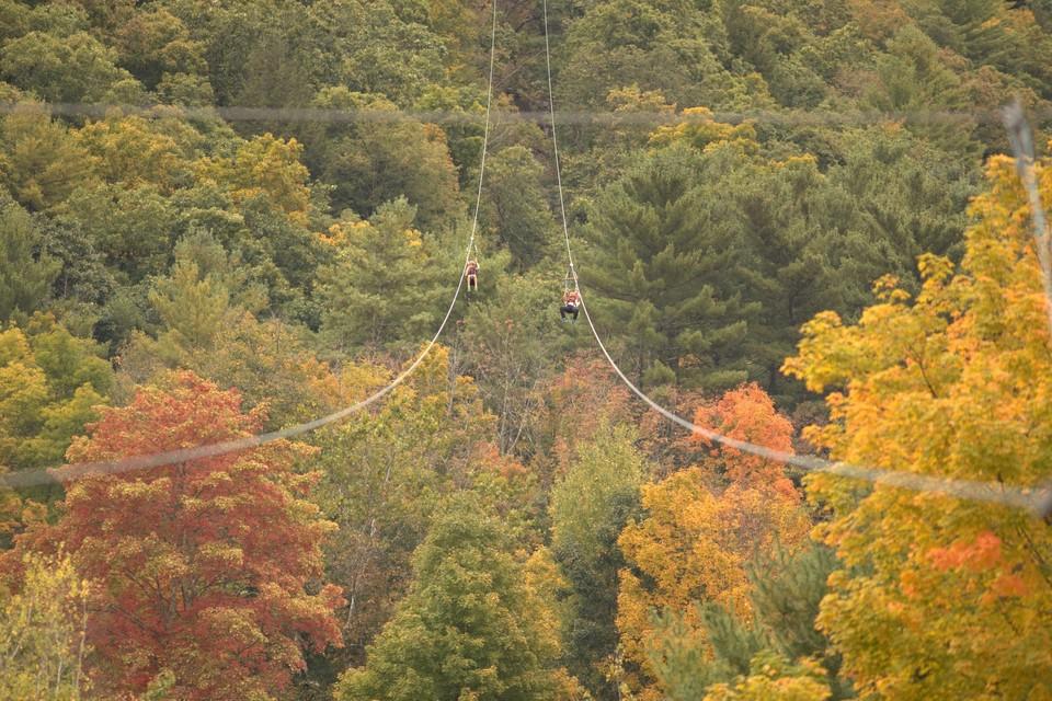 ziplining during fall in the Catskills