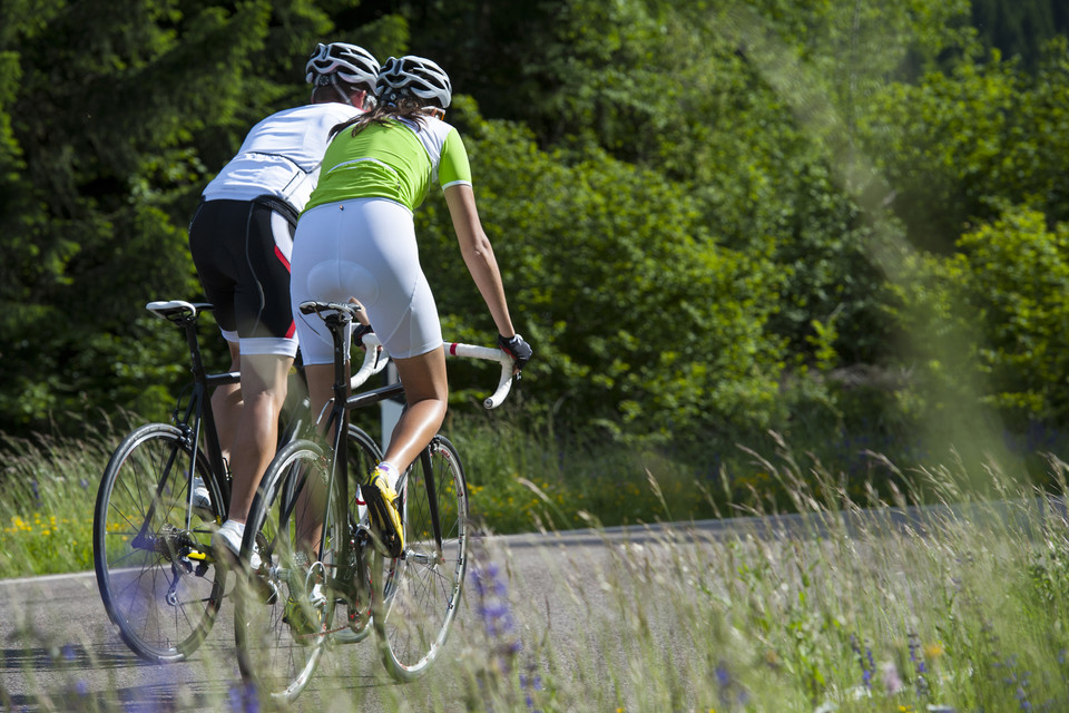 two people cycling in the Catskills