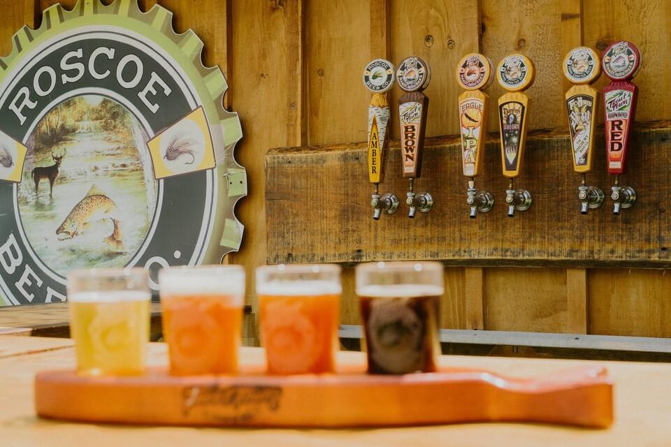 Flight of Roscoe Beer Company beers