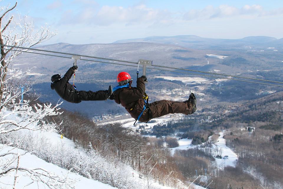 ziplining in the Winter