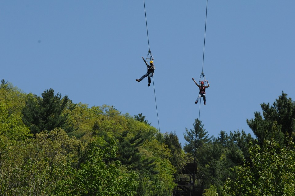 Zipline racing in the Catskills