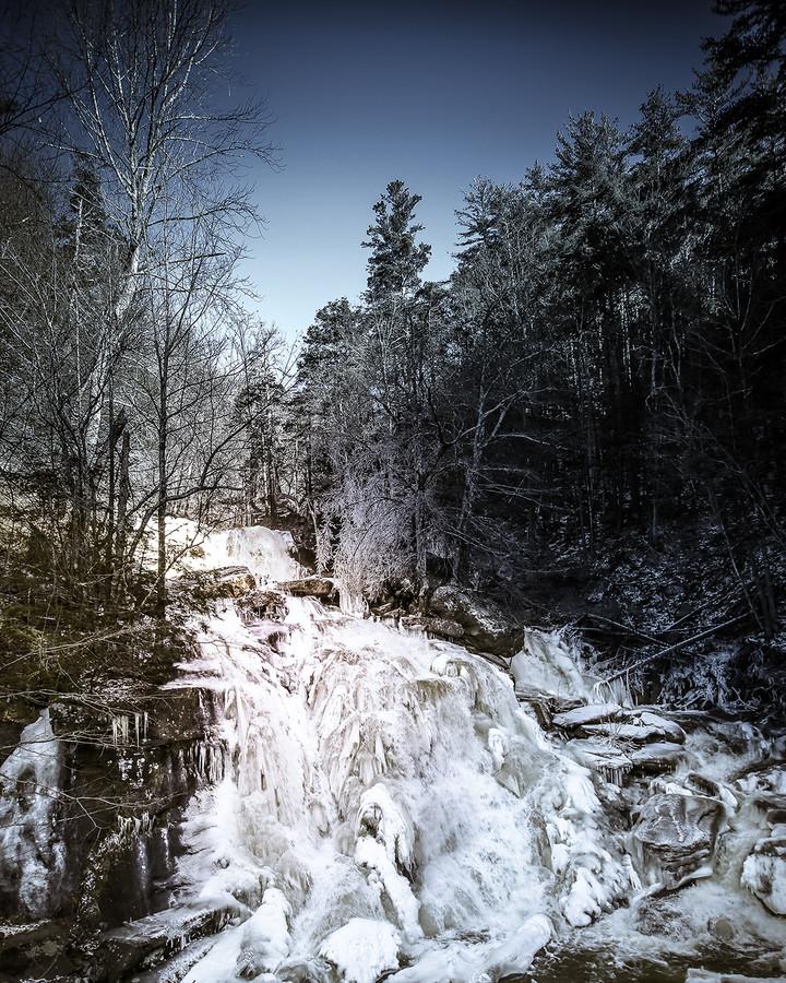Catskills waterfall frozen in winter