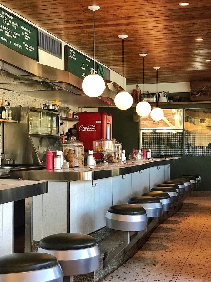 counter top seating at a Catskills diner