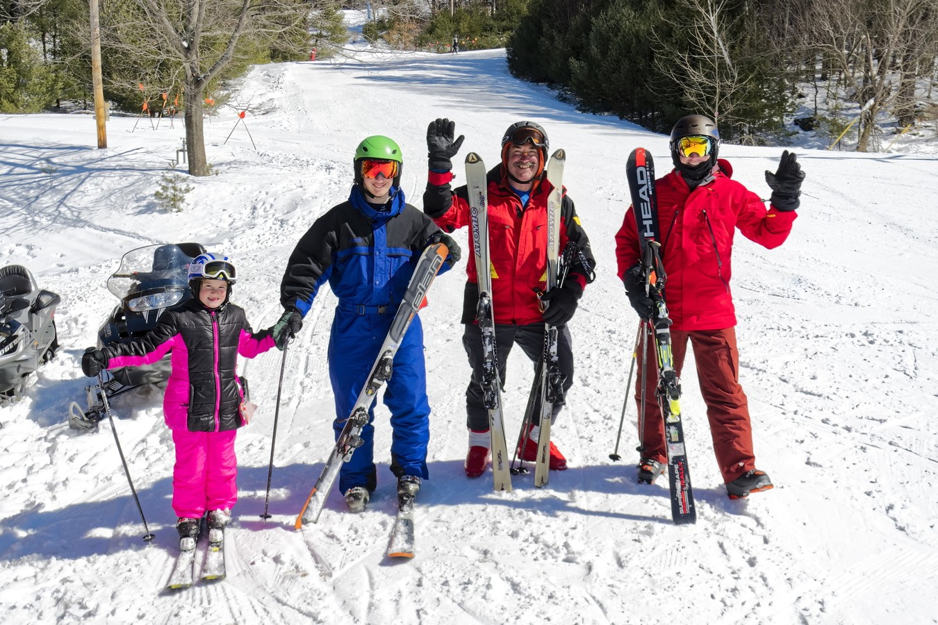 group of people skiing in the Catskills