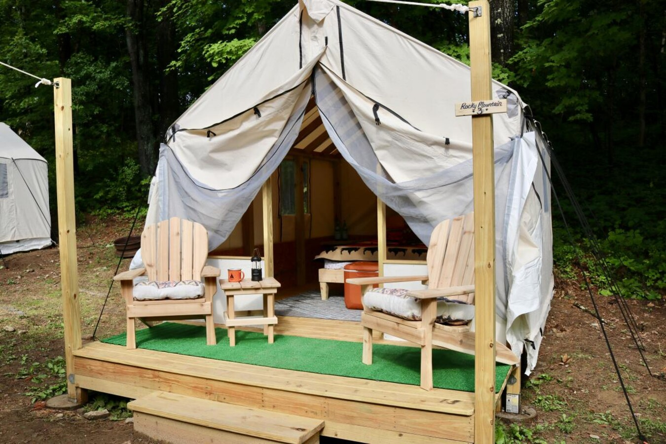 Glamping canvas tent opening