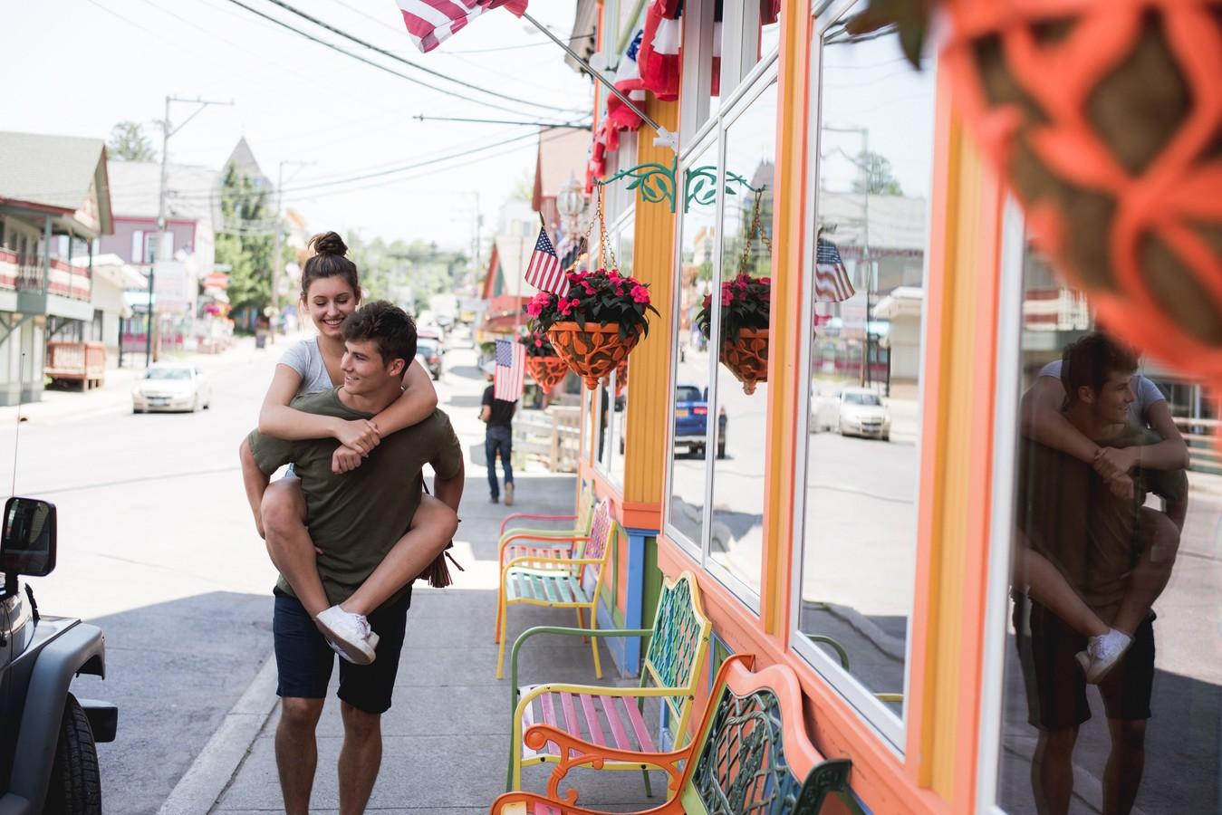 boy giving girl a piggy-back ride