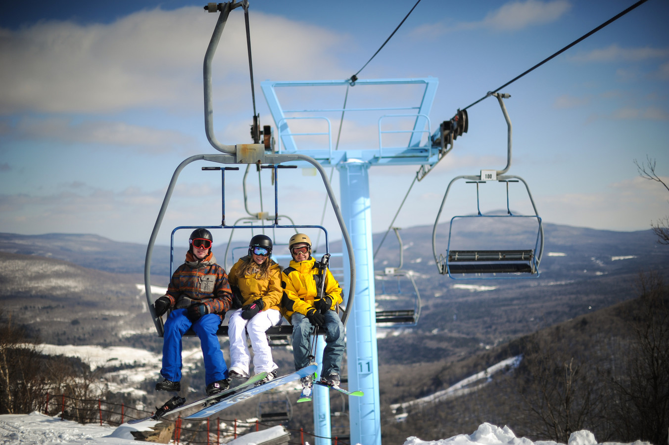 people on chair at ski mountain in the Great Northern Catskills