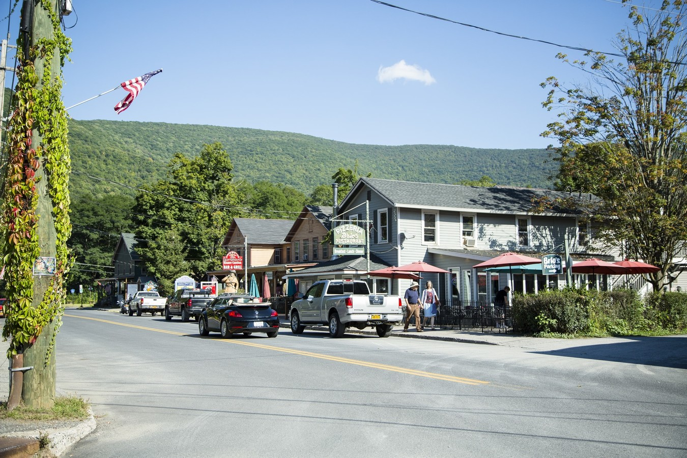 small town with Catskill Mountains in background