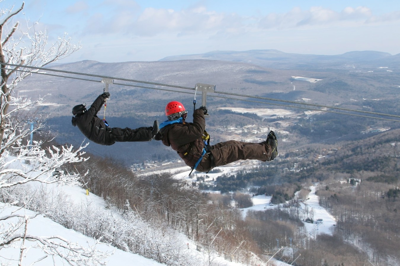 Winter zipline adventure at Hunter Mountain in the Catskills